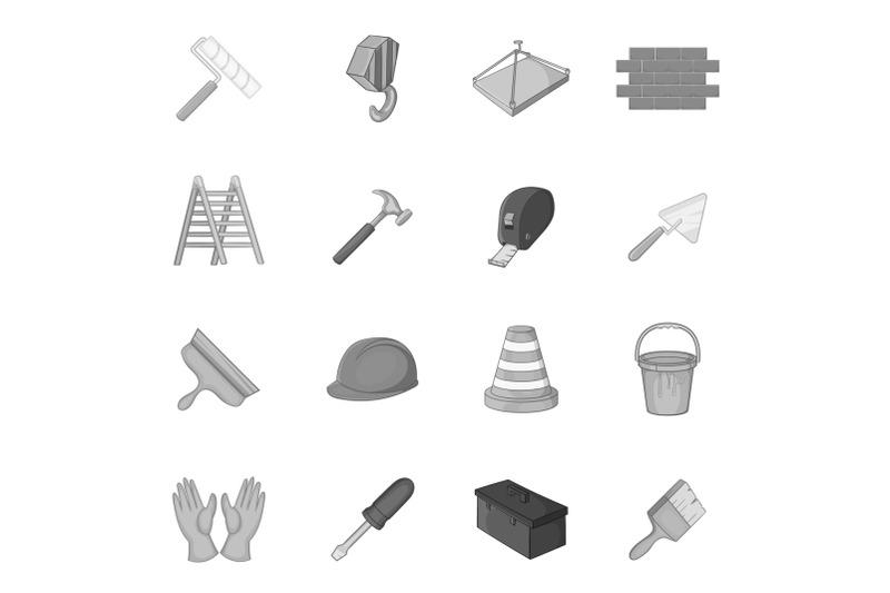 working-tools-icons-set-black-monochrome-style