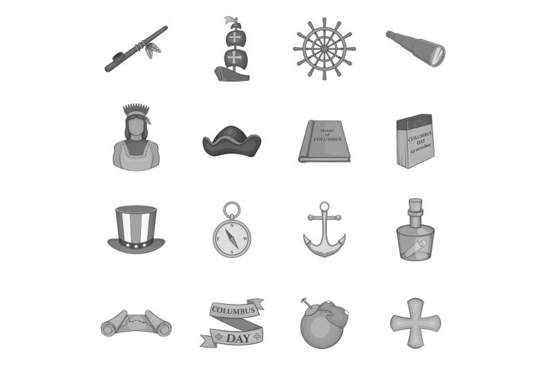 columbus-day-icons-set-black-monochrome-style
