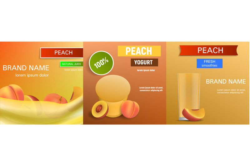 peach-banner-set-realistic-style