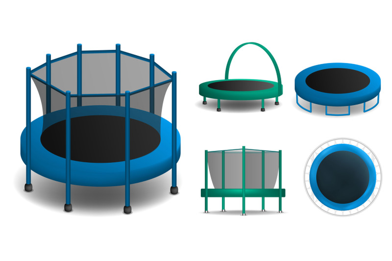 trampoline-icons-set-realistic-style