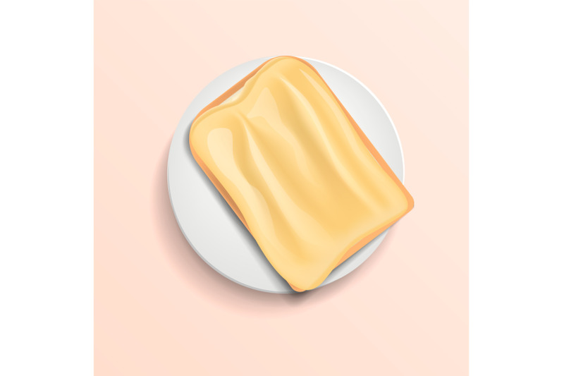 butter-bread-on-plate-concept-background-realistic-style