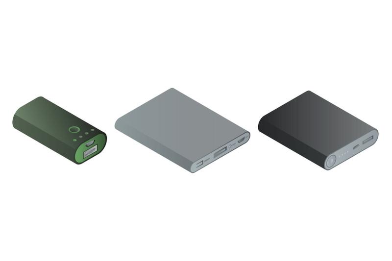 power-bank-icons-set-isometric-style