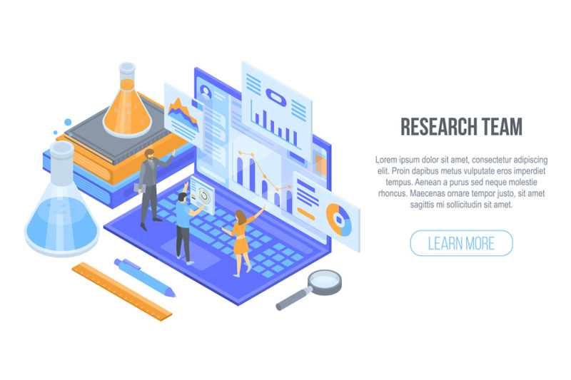 research-team-concept-background-isometric-style