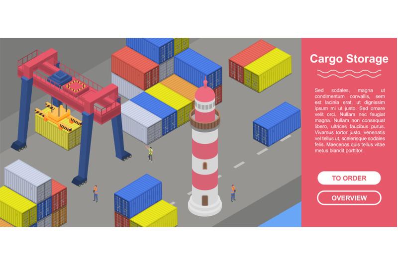 cargo-storage-concept-banner-isometric-style