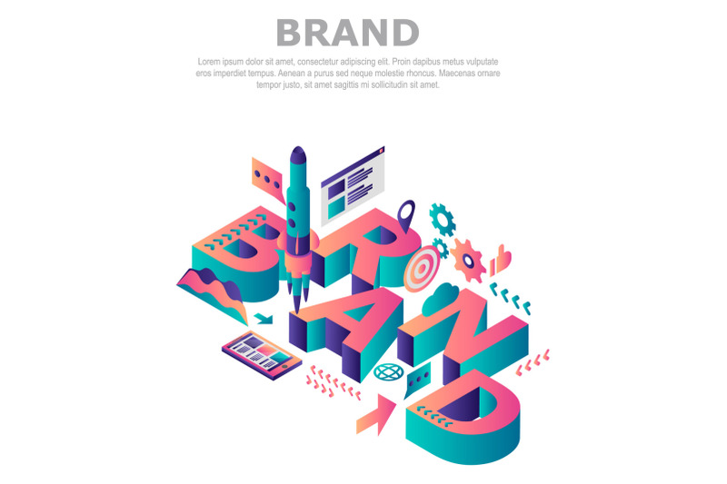 brand-company-concept-background-isometric-style