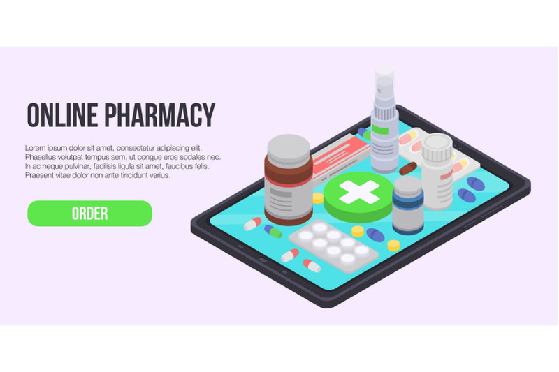 online-pharmacy-concept-banner-isometric-style
