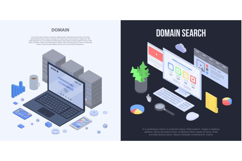 domain-banner-set-isometric-style