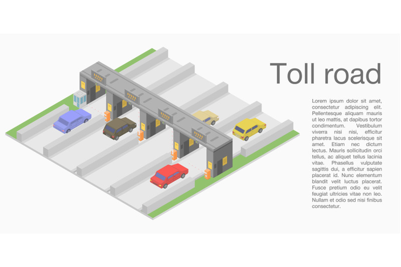 toll-road-concept-banner-isometric-style