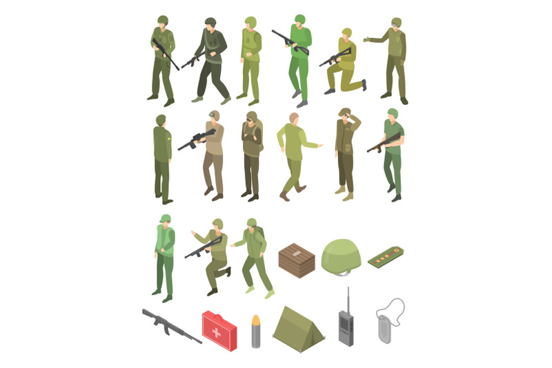 soldier-military-icons-set-isometric-style