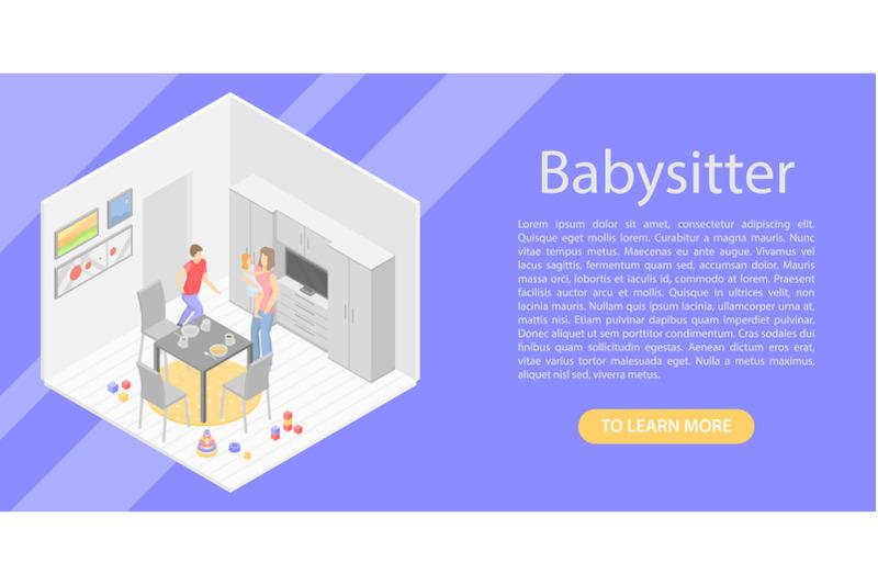 babysitter-concept-banner-isometric-style