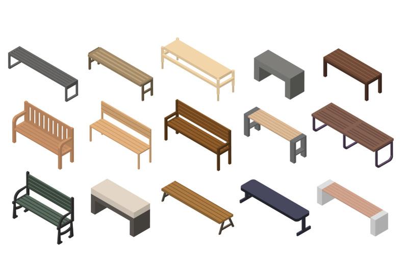 bench-icons-set-isometric-style