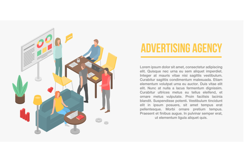 advertising-agency-concept-banner-isometric-style