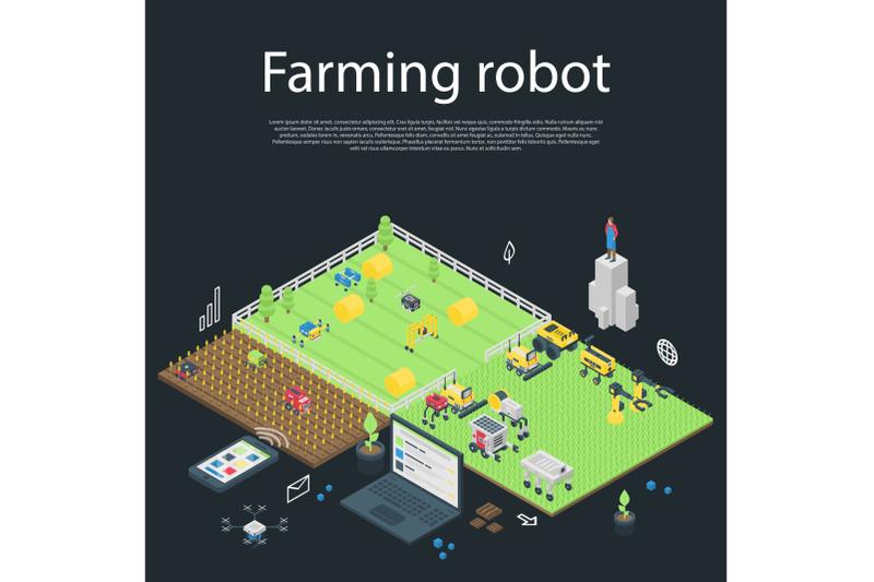 garden-farming-robot-concept-banner-isometric-style
