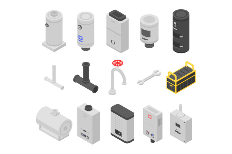 boiler-icons-set-isometric-style