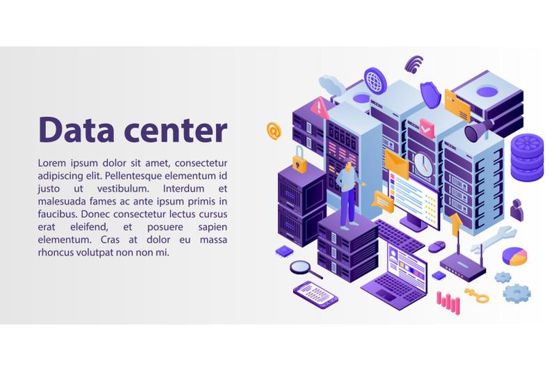 data-center-network-concept-banner-isometric-style
