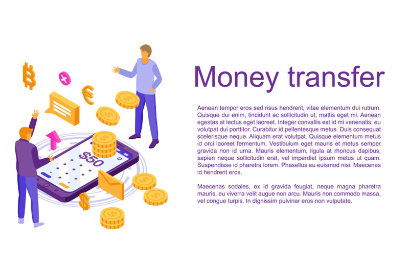 fast-money-transfer-concept-banner-isometric-style