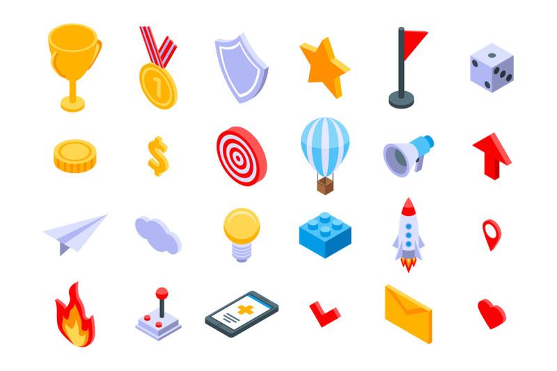 gamification-icons-set-isometric-style