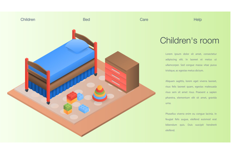 childrens-room-concept-background-isometric-style