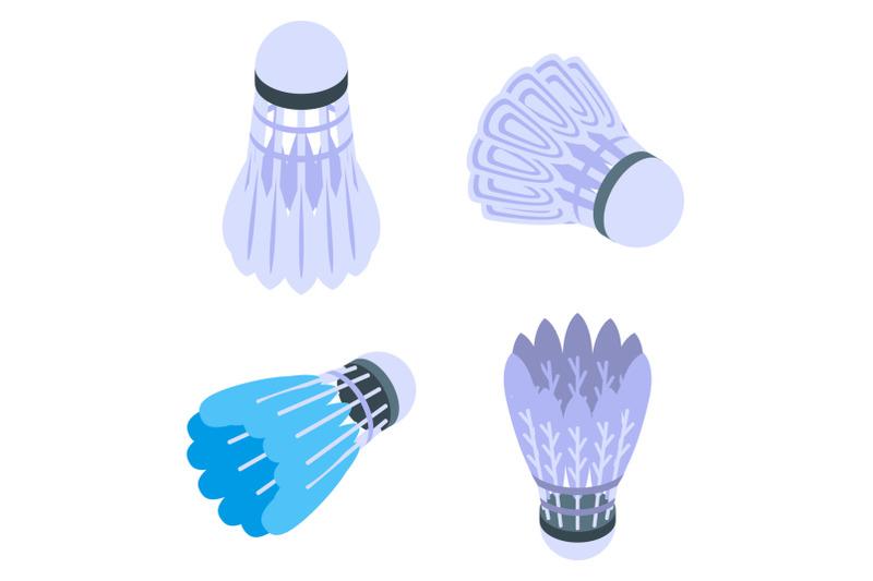shuttlecock-icons-set-isometric-style