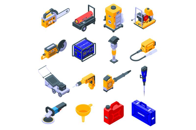 gasoline-tools-icons-set-isometric-style