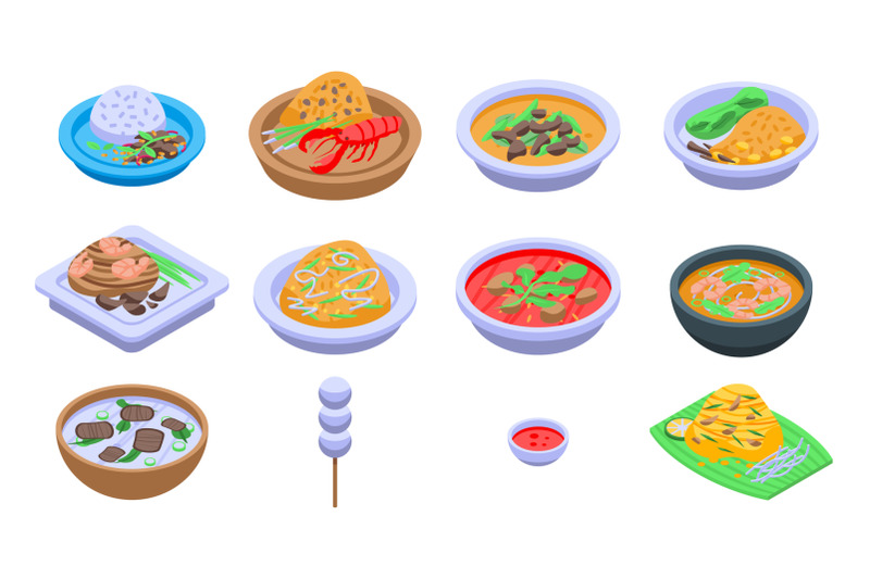 thai-food-icons-set-isometric-style