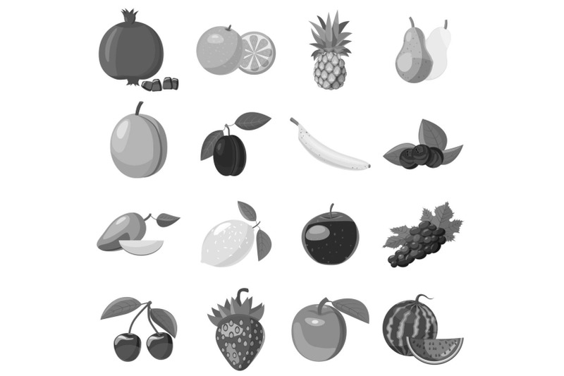 fruit-icons-set-gray-monochrome-style