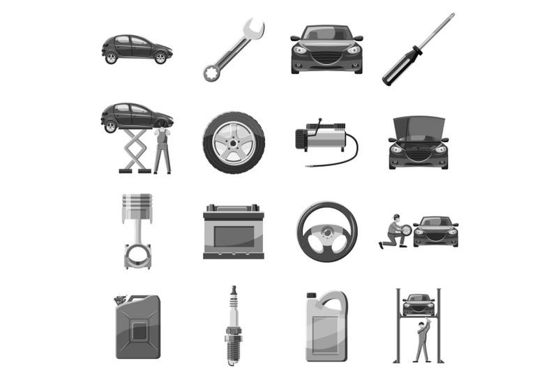 car-service-repair-icons-set-gray-monochrome-style