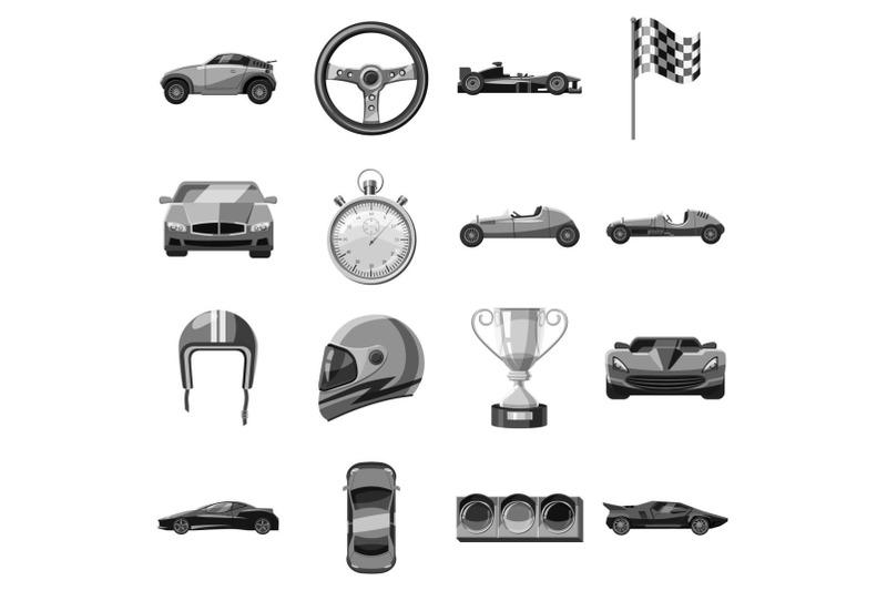 car-racing-icons-set-gray-monochrome-style