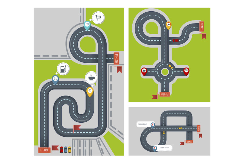 concept-finish-map-banner-set-flat-style