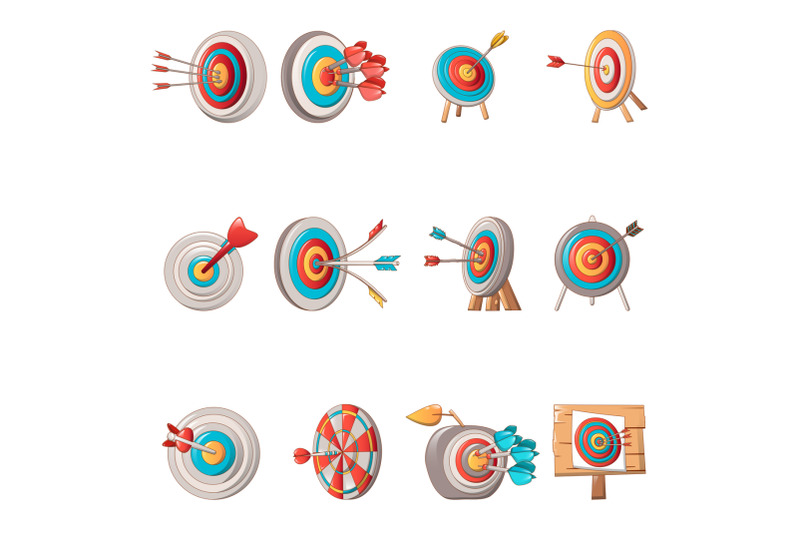 target-with-arrow-icons-set-cartoon-style