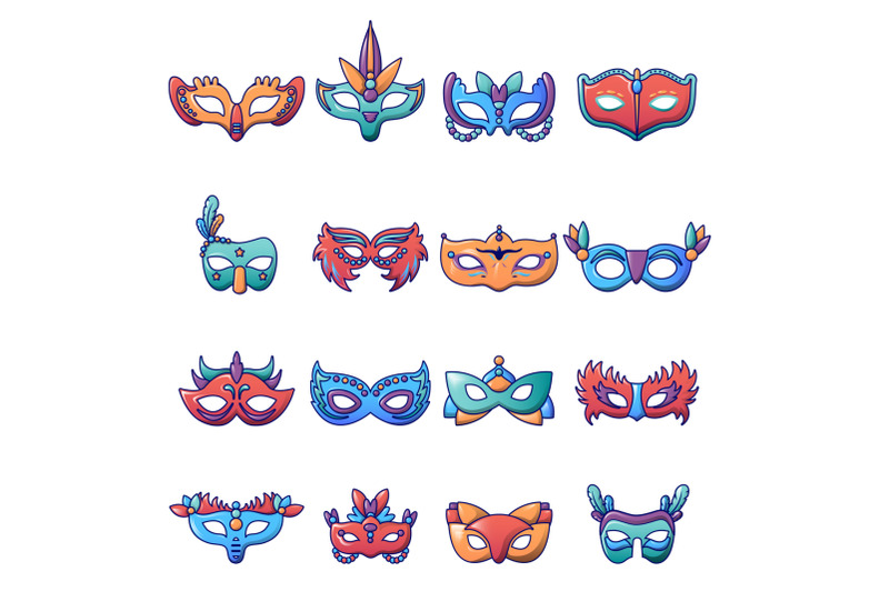 carnival-mask-venetian-icons-set-cartoon-style