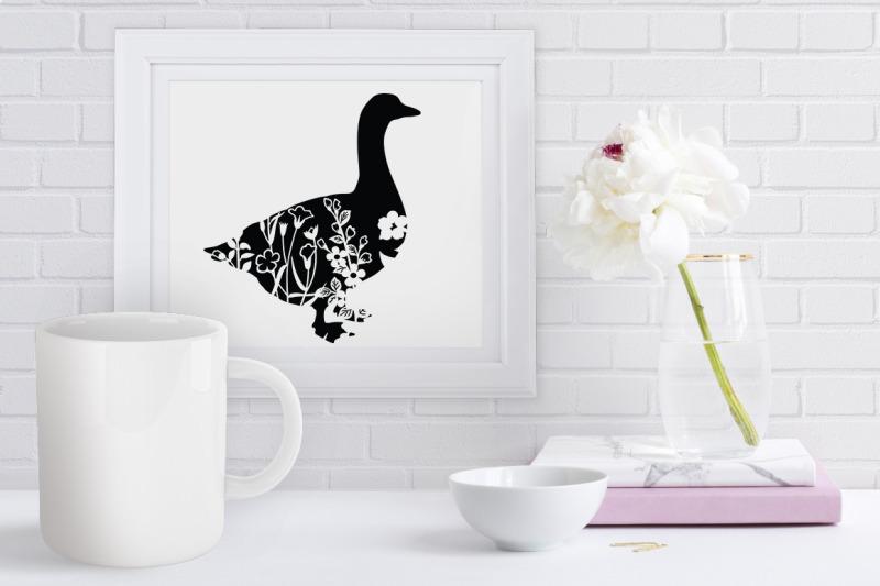 floral-goose-svg-cut-files-floral-goose-clipart