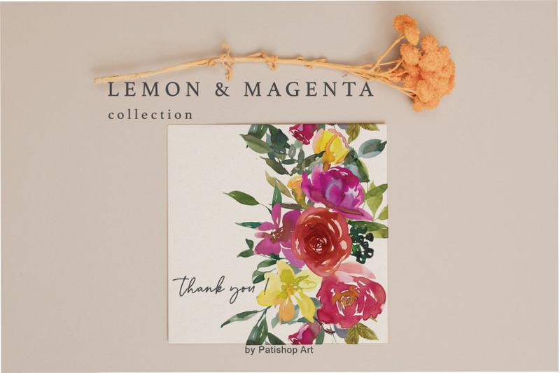 lemon-magenta-watercolor-floral-clipart