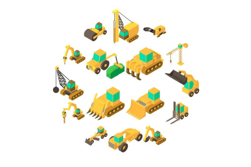 building-vehicles-icons-set-isometric-style