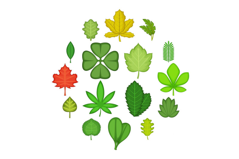 different-leafs-icons-set-cartoon-style