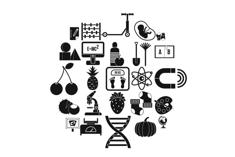 scientific-approach-icons-set-simple-style