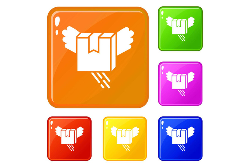 air-box-delivery-icons-set-vector-color