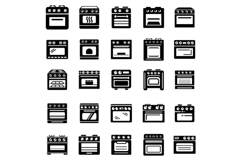 oven-stove-fireplace-icons-set-simple-style