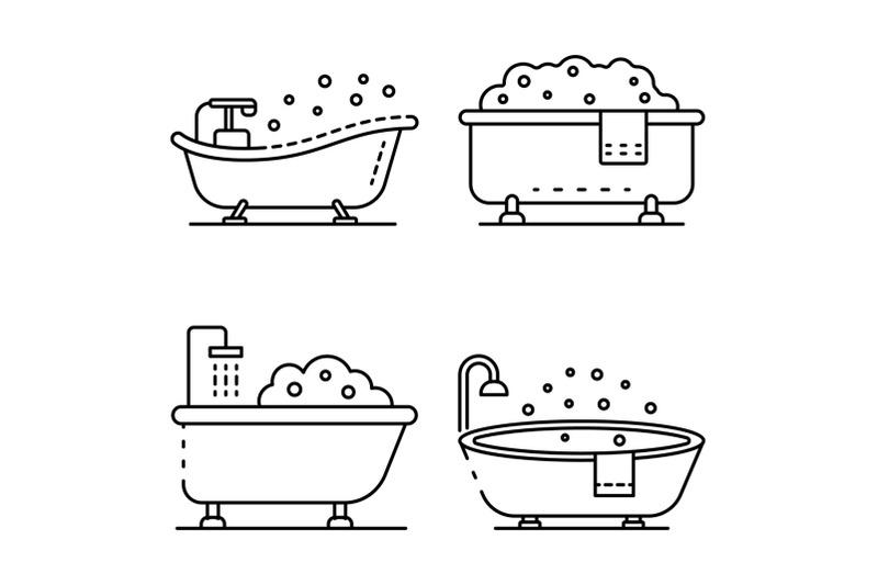 bathtub-icon-set-outline-style