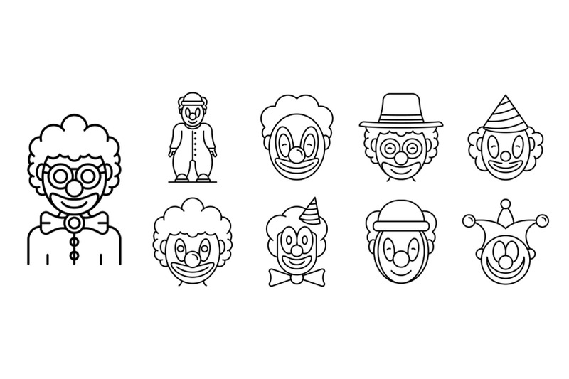 clown-icons-set-outline-style