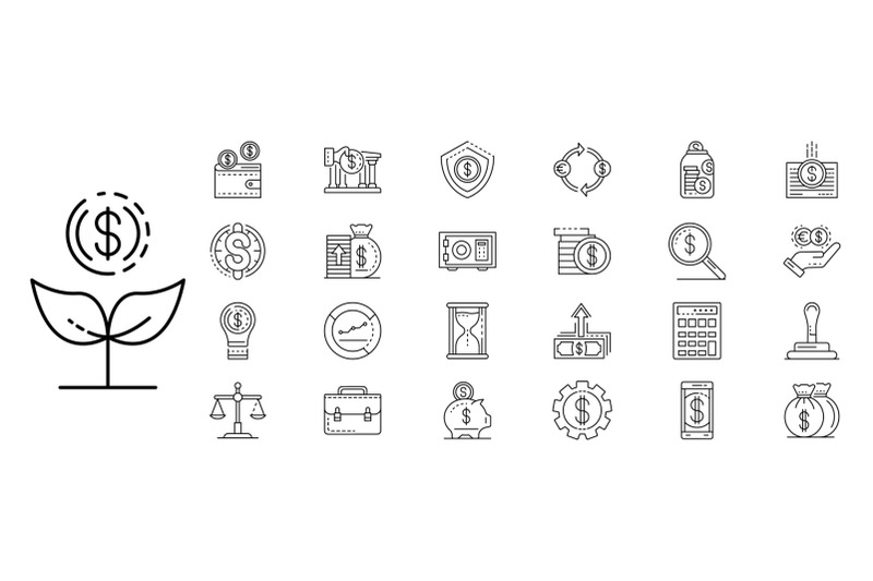 deposit-icons-set-outline-style