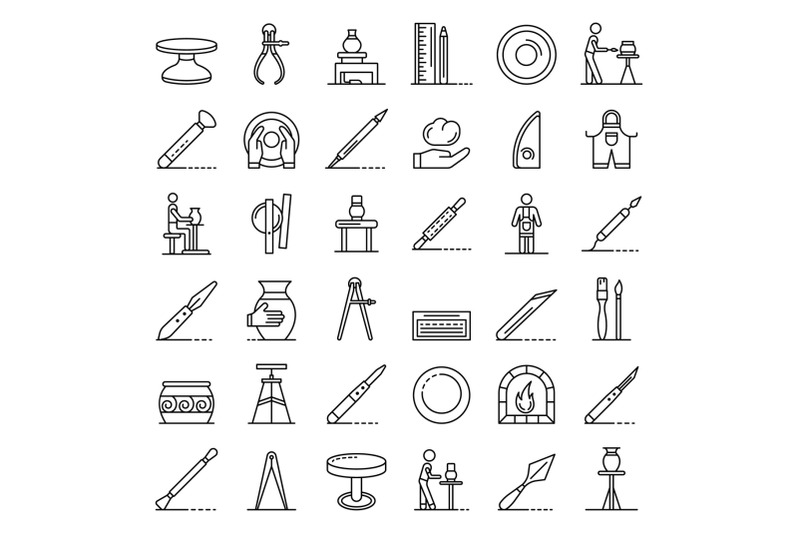 potters-wheel-icons-set-outline-style
