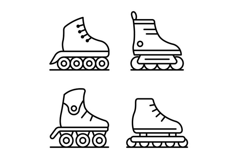 inline-skates-icons-set-outline-style
