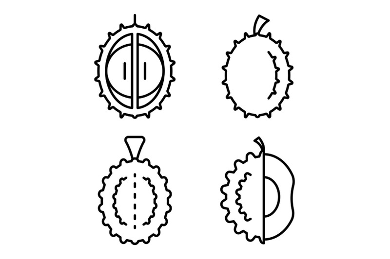 durian-icons-set-outline-style