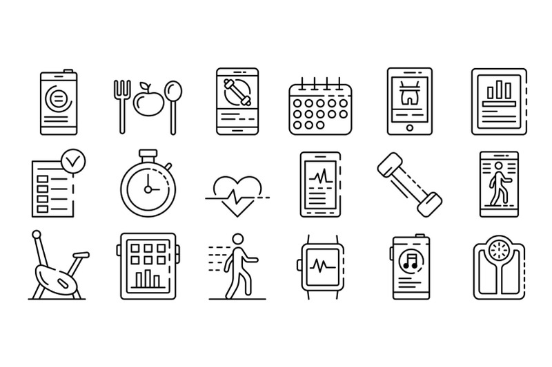 apps-for-fitness-icons-set-outline-style