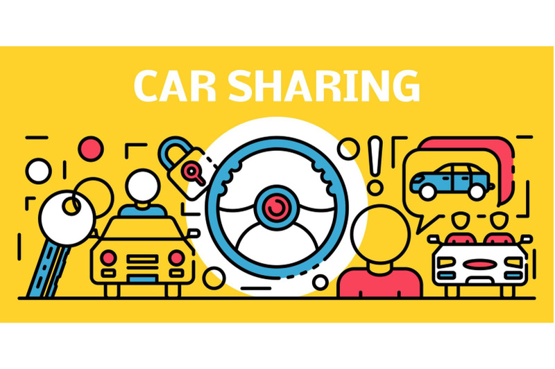 car-sharing-banner-outline-style