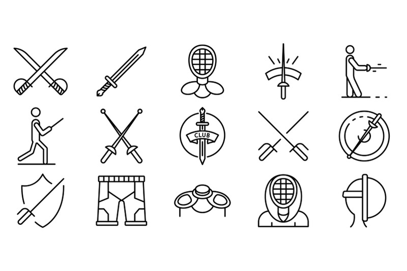fencing-icons-set-outline-style
