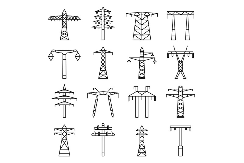 electrical-tower-icon-set-outline-style