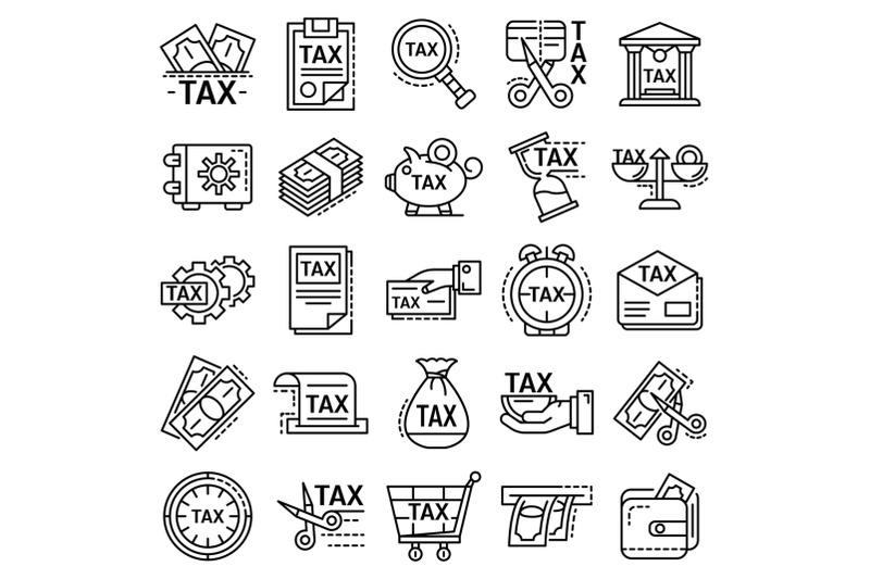 taxes-icon-set-outline-style