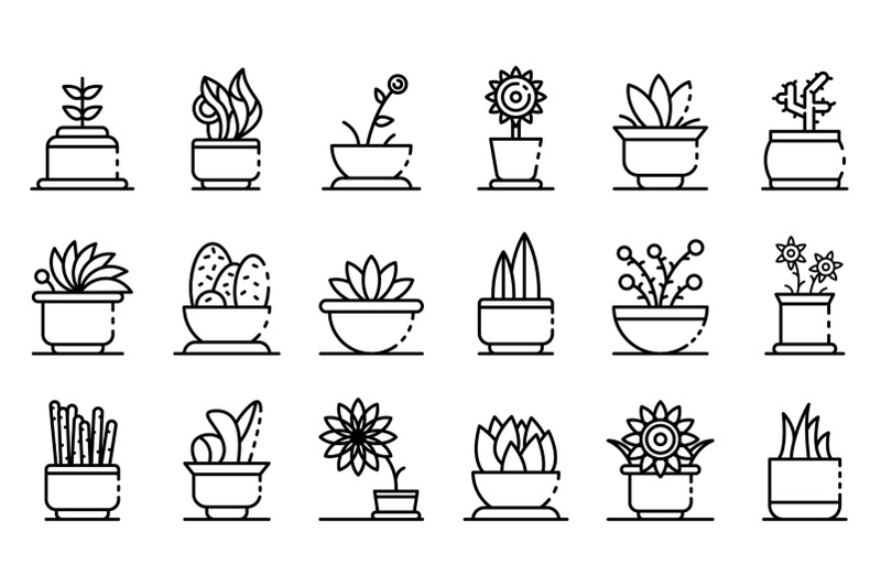 houseplants-icons-set-outline-style